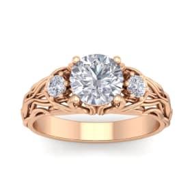 1 3/4 Carat Round Shape Moissanite Intricate Vine Engagement Ring In 14 Karat Rose Gold