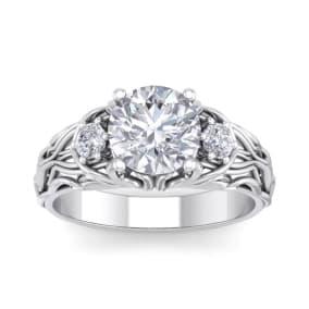 2 1/4 Carat Round Shape Moissanite Intricate Vine Engagement Ring In 14 Karat White Gold