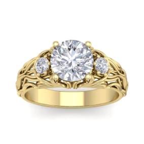2 1/4 Carat Round Shape Moissanite Intricate Vine Engagement Ring In 14 Karat Yellow Gold