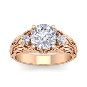 2 1/4 Carat Round Shape Moissanite Intricate Vine Engagement Ring In 14 Karat Rose Gold