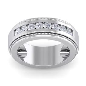 1 Carat Mens Diamond Band Ring In 14 Karat White Gold