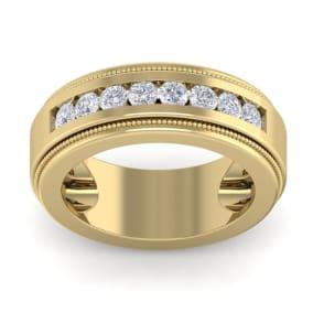 1 Carat Mens Diamond Band Ring In 14 Karat Yellow Gold