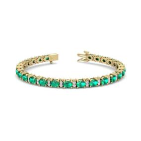 5 Carat Oval Shape Emerald and Diamond Bracelet In 14 Karat Yellow Gold, 5 Carat Oval Shape Emerald and Diamond Bracelet In 14 Karat Yellow Gold, 7 Inches