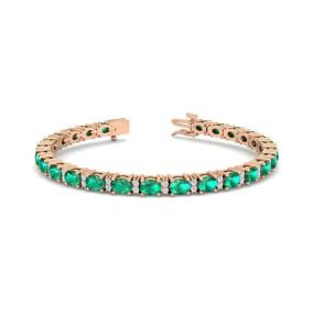5 Carat Oval Shape Emerald and Diamond Bracelet In 14 Karat Rose Gold, 5 Carat Oval Shape Emerald and Diamond Bracelet In 14 Karat Rose Gold, 7 Inches