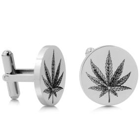 Octavius Cannabis Leaf Cufflinks, Silver