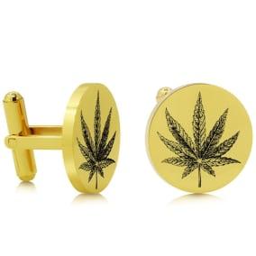 Octavius Cannabis Leaf Cufflinks, Yellow Gold