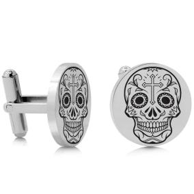 Octavius Skull and Cross Cufflinks, Silver