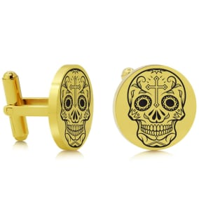 Octavius Skull and Cross Cufflinks, Yellow Gold