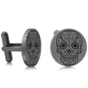 Octavius Skull and Cross Cufflinks, Gunmetal