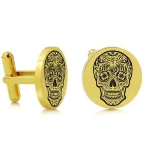 Octavius Skull Cufflinks, Yellow Gold