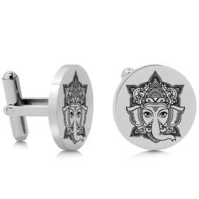 Octavius Ganesha Cufflinks, Silver