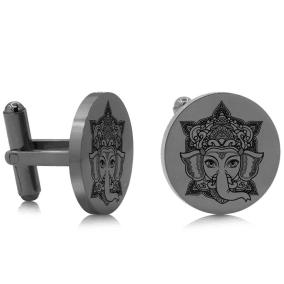 Octavius Ganesha Cufflinks, Gunmetal