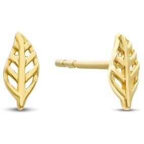 14 Karat Yellow Gold Feather Stud Earrings