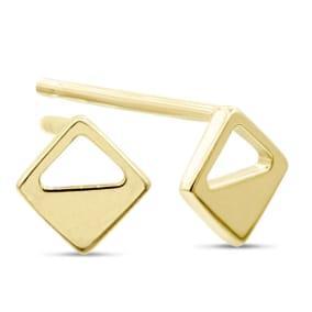 14 Karat Yellow Gold Geometric Stud Earrings
