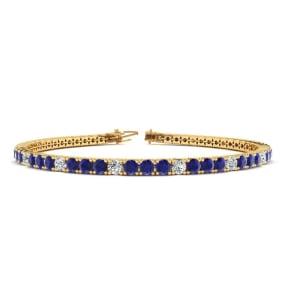 6 Carat Sapphire And Diamond Alternating Mens Tennis Bracelet In 14 Karat Yellow Gold, 8 1/2 Inches