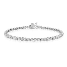 2 1/4 Carat Diamond Mens Tennis Bracelet In 14 Karat White Gold, 8 Inches