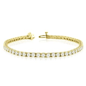 8 2/3 Carat Diamond Mens Tennis Bracelet In 14 Karat Yellow Gold, 7 1/2 Inches