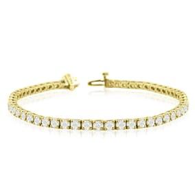 9 3/4 Carat Diamond Mens Tennis Bracelet In 14 Karat Yellow Gold, 8 1/2 Inches