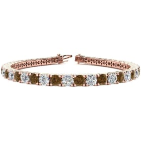 9 3/4 Carat Chocolate Bar Brown Champagne and White Diamond Mens Tennis Bracelet In 14 Karat Rose Gold, 7 1/2 Inches