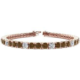 10 1/2 Carat Chocolate Bar Brown Champagne and White Diamond Alternating Mens Tennis Bracelet In 14 Karat Rose Gold, 8 Inches