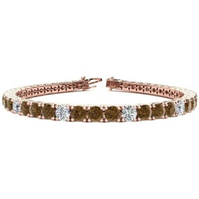 11 3/4 Carat Chocolate Bar Brown Champagne and White Diamond Alternating Mens Tennis Bracelet In 14 Karat Rose Gold, 9 Inches
