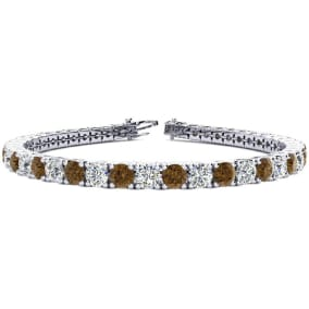 10 1/2 Carat Chocolate Bar Brown Champagne and White Diamond Mens Tennis Bracelet In 14 Karat White Gold, 8 Inches