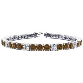 9 3/4 Carat Chocolate Bar Brown Champagne and White Diamond Alternating Mens Tennis Bracelet In 14 Karat White Gold, 7 1/2 Inches