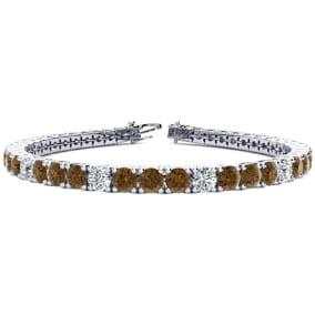 11 3/4 Carat Chocolate Bar Brown Champagne and White Diamond Alternating Mens Tennis Bracelet In 14 Karat White Gold, 9 Inches