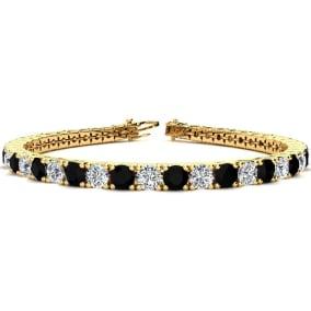 11 1/5 Carat Black and White Diamond Mens Tennis Bracelet In 14 Karat Yellow Gold, 8 1/2 Inches