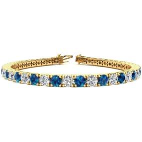 9 3/4 Carat Blue and White Diamond Mens Tennis Bracelet In 14 Karat Yellow Gold, 7 1/2 Inches