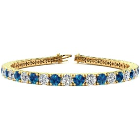 10 1/2 Carat Blue and White Diamond Mens Tennis Bracelet In 14 Karat Yellow Gold, 8 Inches