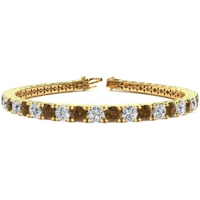 9 3/4 Carat Chocolate Bar Brown Champagne and White Diamond Mens Tennis Bracelet In 14 Karat Yellow Gold, 7 1/2 Inches