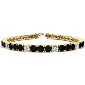 9 3/4 Carat Black and White Diamond Alternating Mens Tennis Bracelet In 14 Karat Yellow Gold, 7 1/2 Inches