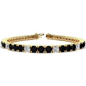 11 1/5 Carat Black and White Diamond Alternating Mens Tennis Bracelet In 14 Karat Yellow Gold, 8 1/2 Inches