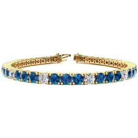 10 1/2 Carat Blue and White Diamond Alternating Mens Tennis Bracelet In 14 Karat Yellow Gold, 8 Inches
