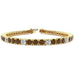 9 3/4 Carat Chocolate Bar Brown Champagne and White Diamond Alternating Mens Tennis Bracelet In 14 Karat Yellow Gold, 7 1/2 Inches