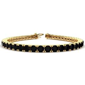 9 3/4 Carat Black Diamond Mens Tennis Bracelet In 14 Karat Yellow Gold, 7 1/2 Inches