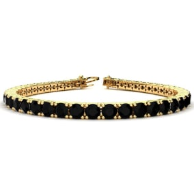 11 3/4 Carat Black Diamond Mens Tennis Bracelet In 14 Karat Yellow Gold, 9 Inches