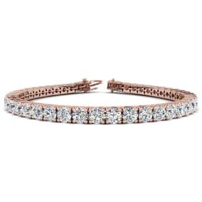 9 3/4 Carat Diamond Mens Tennis Bracelet In 14 Karat Rose Gold, 7 1/2 Inches