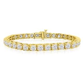 9 3/4 Carat Diamond Mens Tennis Bracelet In 14 Karat Yellow Gold, 7 1/2 Inches