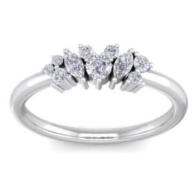 1/3 Carat Round and Marquise Diamond Ring In 14 Karat White Gold