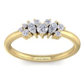 1/3 Carat Round and Marquise Diamond Ring In 14 Karat Yellow Gold