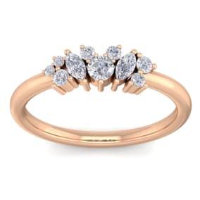 1/3 Carat Round and Marquise Diamond Ring In 14 Karat Rose Gold