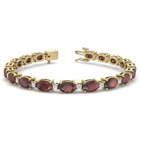 11 Carat Oval Shape Garnet and Diamond Bracelet In 14 Karat Yellow Gold, 11 Carat Oval Shape Garnet and Diamond Bracelet In 14 Karat Yellow Gold, 7 Inches