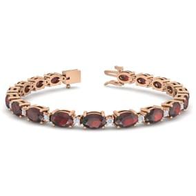 11 Carat Oval Shape Garnet and Diamond Bracelet In 14 Karat Rose Gold, 11 Carat Oval Shape Garnet and Diamond Bracelet In 14 Karat Rose Gold, 7 Inches