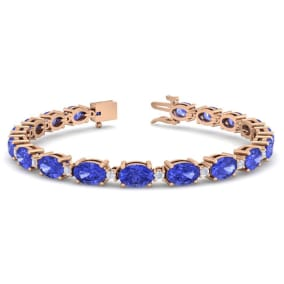 11 Carat Oval Shape Tanzanite and Diamond Bracelet In 14 Karat Rose Gold, 11 Carat Oval Shape Tanzanite and Diamond Bracelet In 14 Karat Rose Gold, 7 Inches