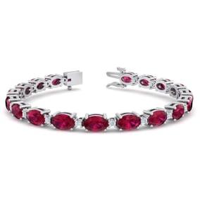 11 Carat Oval Shape Ruby and Diamond Bracelet In 14 Karat White Gold, 11 Carat Oval Shape Ruby and Diamond Bracelet In 14 Karat White Gold, 7 Inches