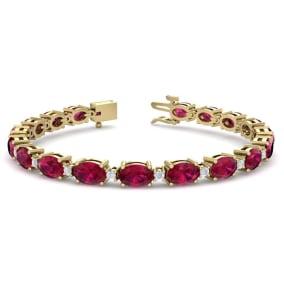 11 Carat Oval Shape Ruby and Diamond Bracelet In 14 Karat Yellow Gold, 11 Carat Oval Shape Ruby and Diamond Bracelet In 14 Karat Yellow Gold, 7 Inches