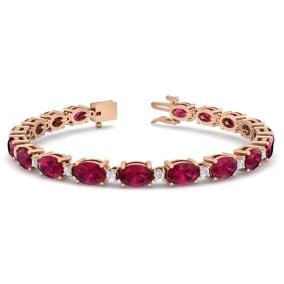 11 Carat Oval Shape Ruby and Diamond Bracelet In 14 Karat Rose Gold, 11 Carat Oval Shape Ruby and Diamond Bracelet In 14 Karat Rose Gold, 7 Inches