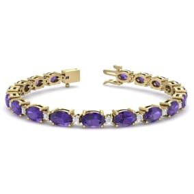 8 1/2 Carat Oval Shape Amethyst and Diamond Bracelet In 14 Karat Yellow Gold, 7 Inches